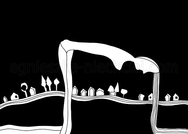 black and white illustration