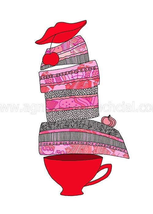 red, pink, black